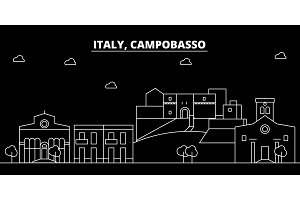 Campobasso silhouette skyline. Italy - Campobasso vector city, italian linear architecture, buildings. Campobasso travel illustration, outline landmarks. Italy flat icon, italian line banner