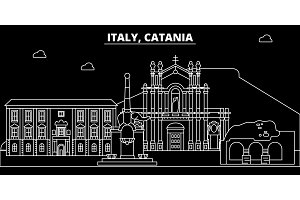 Catania silhouette skyline. Italy - Catania vector city, italian linear architecture, buildings. Catania travel illustration, outline landmarks. Italy flat icon, italian line banner