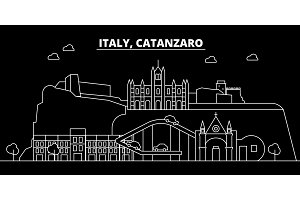 Catanzaro silhouette skyline. Italy - Catanzaro vector city, italian linear architecture, buildings. Catanzaro travel illustration, outline landmarks. Italy flat icon, italian line banner