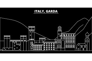 Garda silhouette skyline. Italy - Garda vector city, italian linear architecture, buildings. Garda travel illustration, outline landmarks. Italy flat icon, italian line banner
