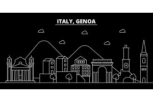 Genoa silhouette skyline. Italy - Genoa vector city, italian linear architecture, buildings. Genoa travel illustration, outline landmarks. Italy flat icon, italian line banner