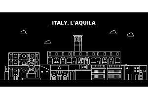 LAquila silhouette skyline. Italy - LAquila vector city, italian linear architecture, buildings. LAquila travel illustration, outline landmarks. Italy flat icon, italian line banner