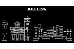 Lucca silhouette skyline. Italy - Lucca vector city, italian linear architecture, buildings. Lucca travel illustration, outline landmarks. Italy flat icon, italian line banner