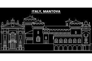 Mantova silhouette skyline. Italy - Mantova vector city, italian linear architecture, buildings. Mantova travel illustration, outline landmarks. Italy flat icon, italian line banner