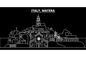 Matera silhouette skyline. Italy - Matera vector city, italian linear architecture, buildings. Matera travel illustration, outline landmarks. Italy flat icon, italian line banner