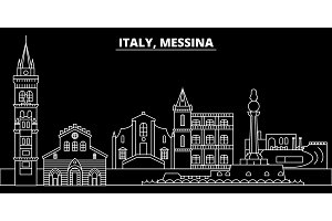 Messina silhouette skyline. Italy - Messina vector city, italian linear architecture, buildings. Messina travel illustration, outline landmarks. Italy flat icon, italian line banner