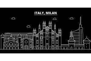 Milan city silhouette skyline. Italy - Milan city vector city, italian linear architecture, buildings. Milan city travel illustration, outline landmarks. Italy flat icon, italian line banner
