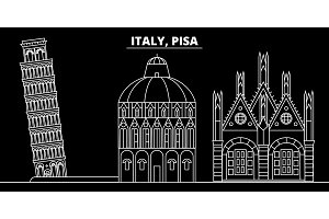 Pisa silhouette skyline. Italy - Pisa vector city, italian linear architecture, buildings. Pisa travel illustration, outline landmarks. Italy flat icon, italian line banner