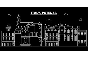 Potenza silhouette skyline. Italy - Potenza vector city, italian linear architecture, buildings. Potenza travel illustration, outline landmarks. Italy flat icon, italian line banner