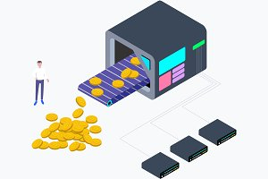 Cryptocurrency Mining Isometric