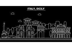 Sicily silhouette skyline. italy - Sicily vector city, italian linear architecture, buildings. Sicily travel illustration, outline landmarks. italy flat icon, italian line banner