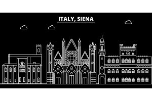 Siena silhouette skyline. Italy - Siena vector city, italian linear architecture, buildings. Siena travel illustration, outline landmarks. Italy flat icon, italian line banner