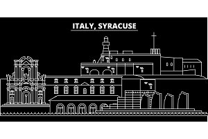 Syracuse silhouette skyline. Italy - Syracuse vector city, italian linear architecture, buildings. Syracuse travel illustration, outline landmarks. Italy flat icon, italian line banner