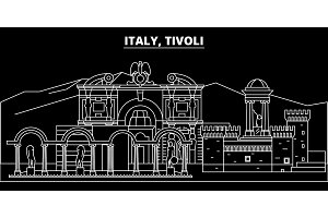 Tivoli silhouette skyline. Italy - Tivoli vector city, italian linear architecture, buildings. Tivoli travel illustration, outline landmarks. Italy flat icon, italian line banner