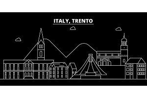 Trento silhouette skyline. Italy - Trento vector city, italian linear architecture, buildings. Trento travel illustration, outline landmarks. Italy flat icon, italian line banner
