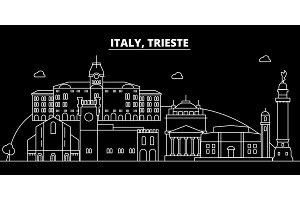 Trieste silhouette skyline. Italy - Trieste vector city, italian linear architecture, buildings. Trieste travel illustration, outline landmarks. Italy flat icon, italian line banner