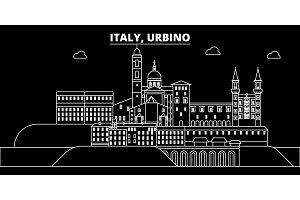 Urbino silhouette skyline. Italy - Urbino vector city, italian linear architecture, buildings. Urbino travel illustration, outline landmarks. Italy flat icon, italian line banner