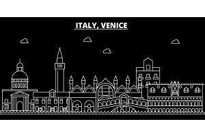 Venice silhouette skyline. Italy - Venice vector city, italian linear architecture, buildings. Venice travel illustration, outline landmarks. Italy flat icon, italian line banner