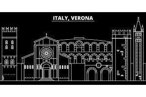 Verona silhouette skyline. Italy - Verona vector city, italian linear architecture, buildings. Verona travel illustration, outline landmarks. Italy flat icon, italian line banner