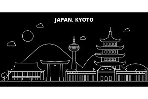 Kyoto silhouette skyline. Japan - Kyoto vector city, japanese linear architecture, buildings. Kyoto travel illustration, outline landmarks. Japan flat icon, japanese line banner