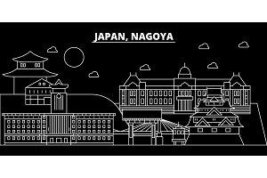 Nagoya silhouette skyline. Japan - Nagoya vector city, japanese linear architecture, buildings. Nagoya line travel illustration, landmarks. Japan flat icon, japanese outline design banner