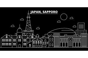 Sapporo silhouette skyline. Japan - Sapporo vector city, japanese linear architecture, buildings. Sapporo travel illustration, outline landmarks. Japan flat icon, japanese line banner