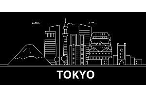 Tokyo silhouette skyline. Japan - Tokyo vector city, japanese linear architecture, buildings. Tokyo travel illustration, outline landmarks. Japan flat icon, japanese line banner