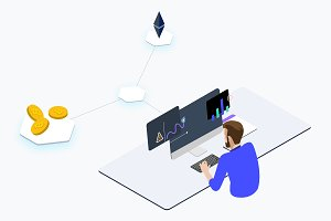 Trade Cryptocurrency Isometric