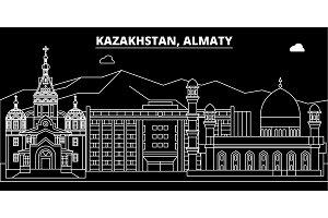 Almaty silhouette skyline. Kazakhstan - Almaty vector city, kazakh linear architecture, buildings. Almaty travel illustration, outline landmarks. Kazakhstan flat icon, kazakh line banner