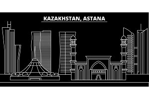 Astana silhouette skyline. Kazakhstan - Astana vector city, kazakh linear architecture, buildings. Astana travel illustration, outline landmarks. Kazakhstan flat icon, kazakh line banner