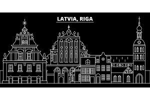 Riga silhouette skyline. Latvia - Riga vector city, latvian linear architecture, buildings. Riga travel illustration, outline landmarks. Latvia flat icon, latvian line banner