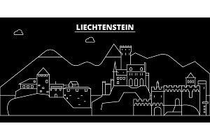 Liechtenstein silhouette skyline, vector city, liechtensteiner linear architecture, buildings. Liechtenstein travel illustration, outline landmarkflat icon, liechtensteiner line banner