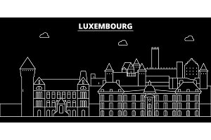 Luxembourg silhouette skyline, vector city, luxembourgish linear architecture, buildings. Luxembourg travel illustration, outline landmarkflat icon, luxembourgish line banner