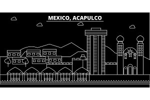 Acapulco silhouette skyline. Mexico - Acapulco vector city, mexican linear architecture, buildings. Acapulco travel illustration, outline landmarks. Mexico flat icon, mexican line banner