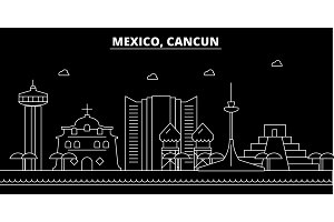 Cancun silhouette skyline. Mexico - Cancun vector city, mexican linear architecture, buildings. Cancun travel illustration, outline landmarks. Mexico flat icon, mexican line banner