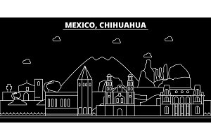 Chihuahua silhouette skyline. Mexico - Chihuahua vector city, mexican linear architecture, buildings. Chihuahua travel illustration, outline landmarks. Mexico flat icon, mexican line banner