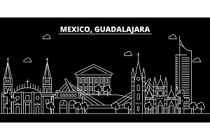 Guadalajara silhouette skyline. Mexico - Guadalajara vector city, mexican linear architecture, buildings. Guadalajara travel illustration, outline landmarks. Mexico flat icon, mexican line banner