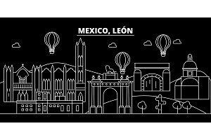 Leon silhouette skyline. Mexico - Leon vector city, mexican linear architecture, buildings. Leon line travel illustration, landmarks. Mexico flat icon, mexican outline design banner