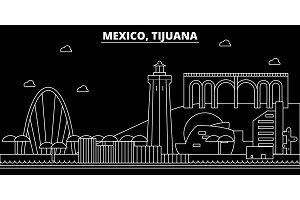 Tijuana silhouette skyline. Mexico - Tijuana vector city, mexican linear architecture, buildings. Tijuana travel illustration, outline landmarks. Mexico flat icon, mexican line banner