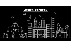Zapopan silhouette skyline. Mexico - Zapopan vector city, mexican linear architecture, buildings. Zapopan travel illustration, outline landmarks. Mexico flat icon, mexican line banner