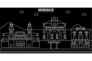 Monaco silhouette skyline, vector city, monacan linear architecture, buildings. Monaco travel illustration, outline landmarkflat icon, monacan line banner