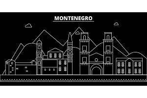 Montenegro silhouette skyline, vector city, montenegrin linear architecture, buildings. Montenegro travel illustration, outline landmarkflat icon, montenegrin line banner