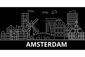 Amsterdam silhouette skyline. Netherlands - Amsterdam vector city, dutch linear architecture, buildings. Amsterdam travel illustration, outline landmarks. Netherlands flat icon, dutch line banner