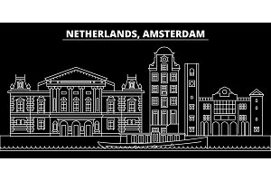 Amsterdam silhouette skyline. Netherlands - Amsterdam vector city, dutch linear architecture. Amsterdam line travel illustration, landmarks. Netherlands flat icon, dutch outline design banner