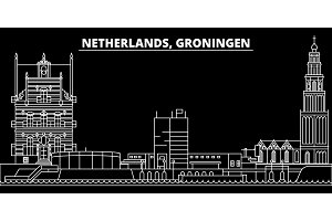 Groningen silhouette skyline. Netherlands - Groningen vector city, dutch linear architecture, buildings. Groningen travel illustration, outline landmarks. Netherlands flat icon, dutch line banner