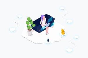 Data Analysis Blockchain Isometric