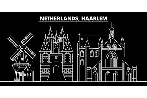 Haarlem silhouette skyline. Netherlands - Haarlem vector city, dutch linear architecture, buildings. Haarlem travel illustration, outline landmarks. Netherlands flat icon, dutch line banner