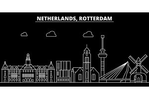 Rotterdam silhouette skyline. Netherlands - Rotterdam vector city, dutch linear architecture, buildings. Rotterdam travel illustration, outline landmarks. Netherlands flat icon, dutch line banner