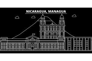 Managua silhouette skyline. Nicaragua - Managua vector city, nicaraguan linear architecture, buildings. Managua travel illustration, outline landmarks. Nicaragua flat icon, nicaraguan line banner