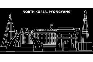 Pyongyang silhouette skyline. North Korea - Pyongyang vector city, korean linear architecture, buildings. Pyongyang travel illustration, outline landmarks. North Korea flat icon, korean line banner